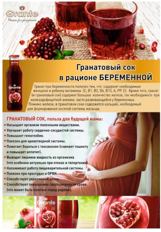 Лечебные зерна граната при беременности