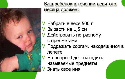 Развитие ребенка в 9 месяцев | развитие мальчиков и девочек в 9 месяцев: вес, рост, что умеет