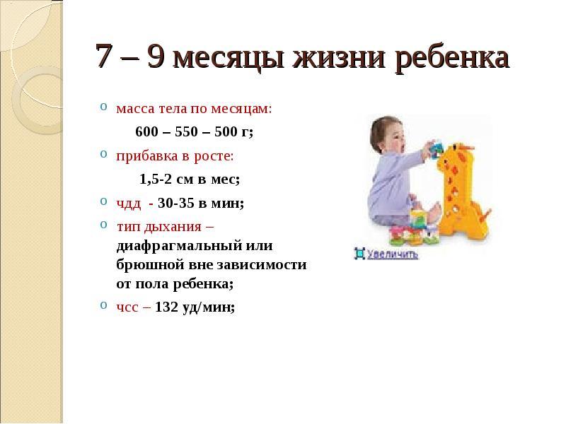 Развитие ребенка в 7 месяцев | развитие мальчиков и девочек в 7 месяцев: вес, рост, что умеет